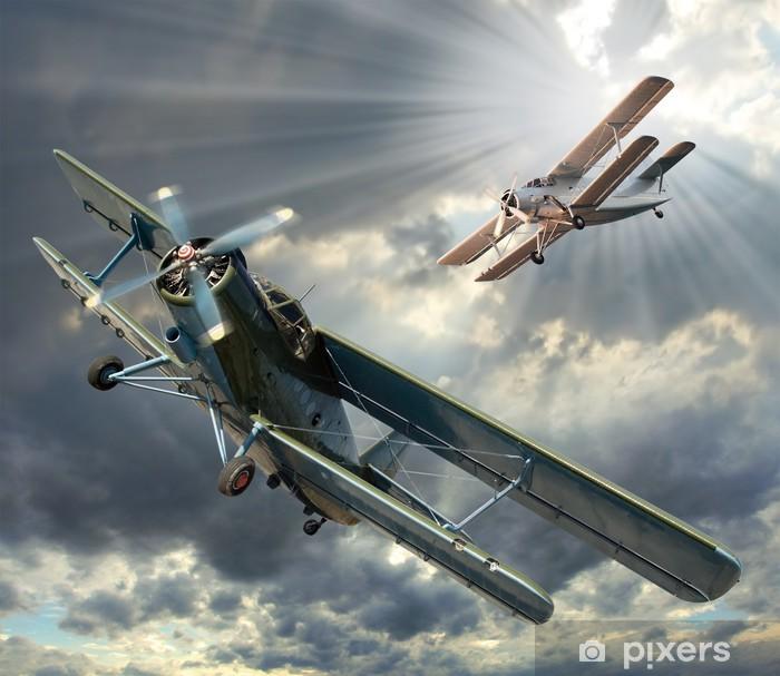 Fotomural Estándar Imagen de estilo retro de los biplanos. Tema de transporte. - Temas
