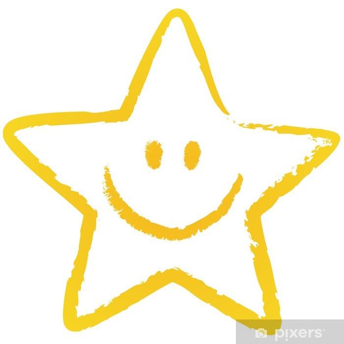 Plakat Żółty, luźno wyciągnąć gwiazda Smiley, wektor / izolowane - Święta międzynarodowe