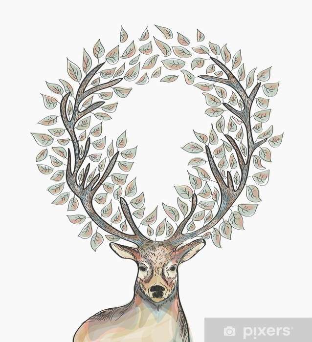 Christmas Reindeer.Christmas Reindeer Circle Leaves Composition Eps10 File Sticker Pixerstick