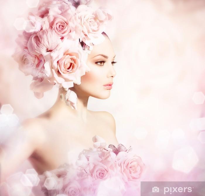 Fototapete Fashion Beauty Modell Mädchen Mit Blumen Haar
