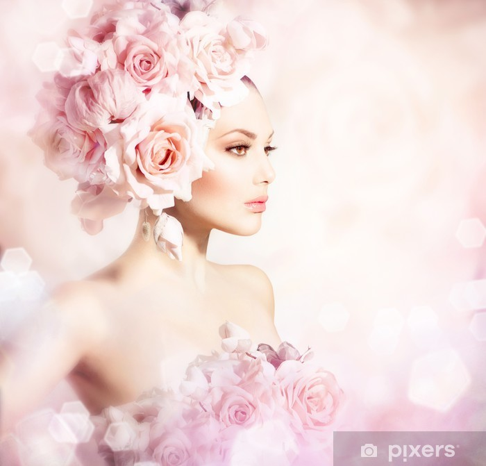 Fashion Beauty Model Girl with Flowers Hair. Bride Vinyl Wall Mural - Fashion