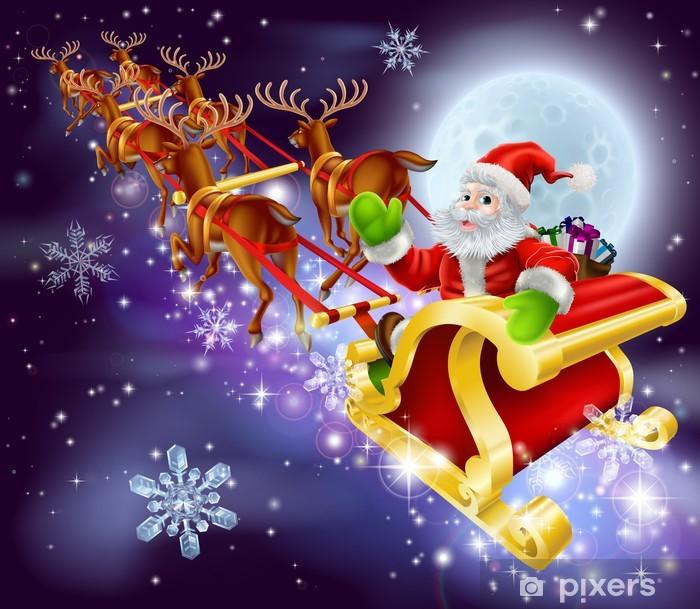 Fototapeta winylowa Christmas Santa latania w jego sanki lub sanie - Święta