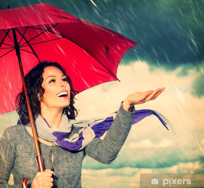 Smiling Woman With Umbrella Over Autumn Rain Background Wall Mural