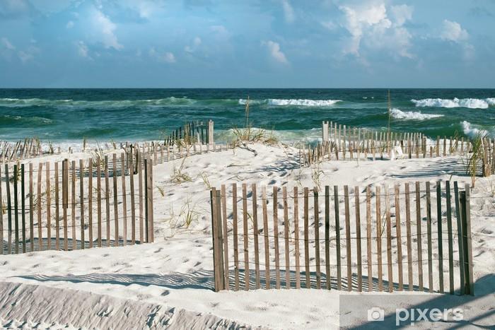 Papier peint vinyle Belle plage de sable de la Floride avec Clôtures et turquoise de l'océan - Amérique