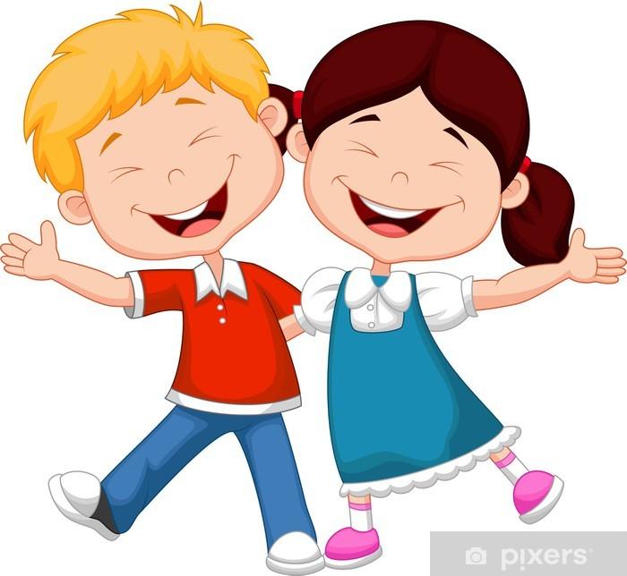 678e9269 Fototapet Lykkelig barn tegneserie • Pixers® - Vi lever for forandring