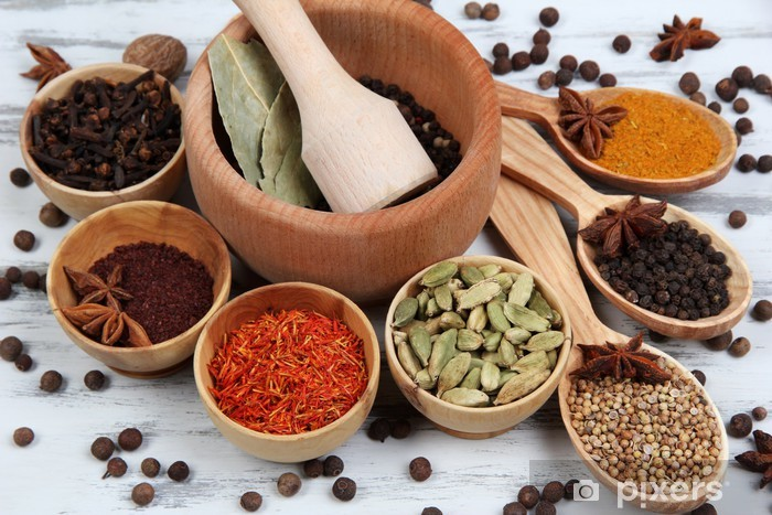 Various spices and herbs on table close up Vinyl Wall Mural - Herbs