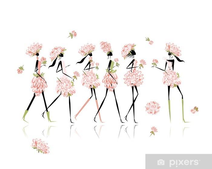 Naklejka Pixerstick Dziewczyny ubrane w kwiatowe stroje, Wieczór panieński dla projektu - Rozrywka