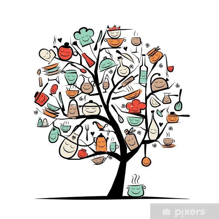 Papier Peint Art Tree Avec Des Ustensiles De Cuisine Dessin Croquis Pour Votre Conception