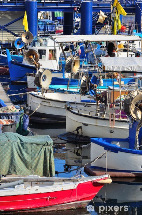 Papier peint vinyle Bateaux de pêche dans le port de Gênes, Italie - Europe