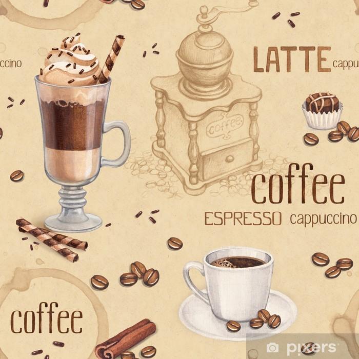 Vinilo Pixerstick Modelo con las ilustraciones de la taza de café y granos de café - Temas