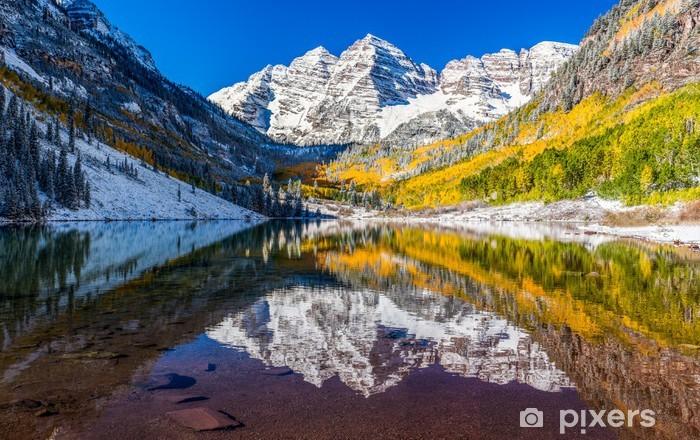 Naklejka Pixerstick Liści zimą i Fall in Maroon Bells, Aspen, Kolorado - Tematy