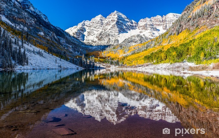 winter and Fall foliage in Maroon Bells, Aspen, CO Vinyl Wall Mural - Themes