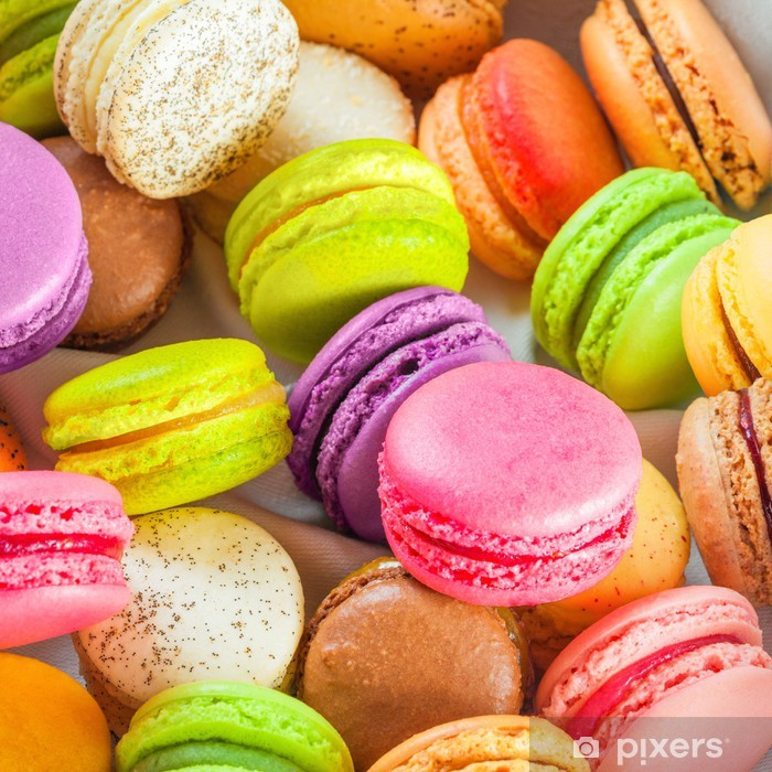 traditional french colorful macarons in a box Poster - Sweets and Desserts