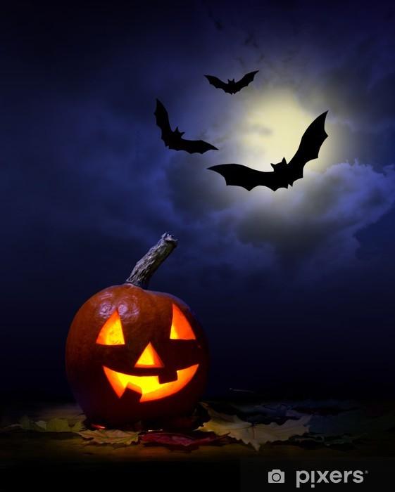 Pompoen En Halloween.Koelkaststicker Halloween Pompoen En Vleermuizen