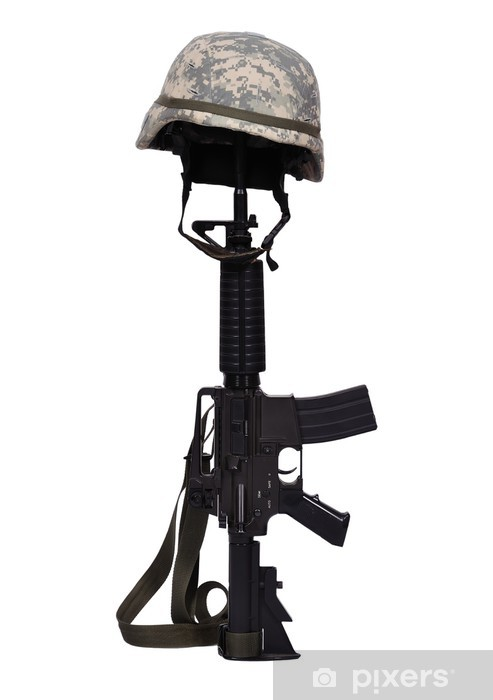 Sticker Pixerstick Carabine avec un casque - Violence et criminalité