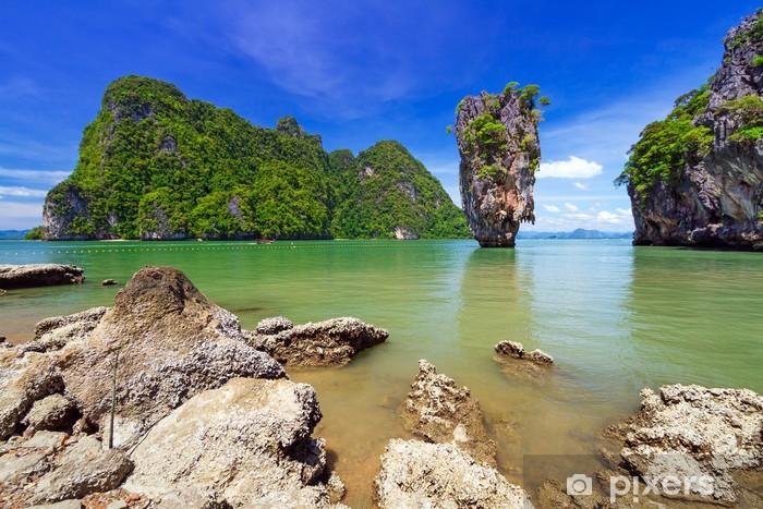 Pixerstick Sticker Ko Tapu rots op James Bond Island, Phang Nga Bay in Thailand - Azië