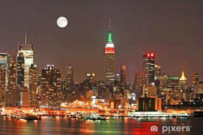 Naklejka Pixerstick Manhattan Skyline w Wigilię, Nowy Jork - Miasta amerykańskie