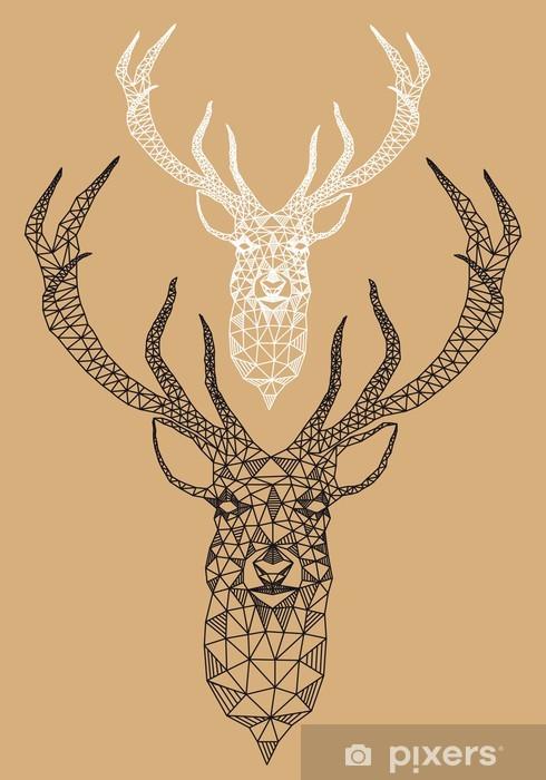 Christmas deer with geometric pattern, vector Vinyl Wall Mural - Styles