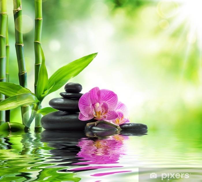 Sticker Pixerstick Contexte spa - orchidées pierres noires et de bambou sur l'eau - Thèmes