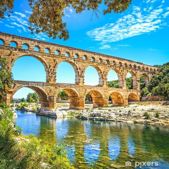 Roman aqueduct Pont du Gard, Unesco site.Languedoc, France. Vinyl Wall Mural - Themes