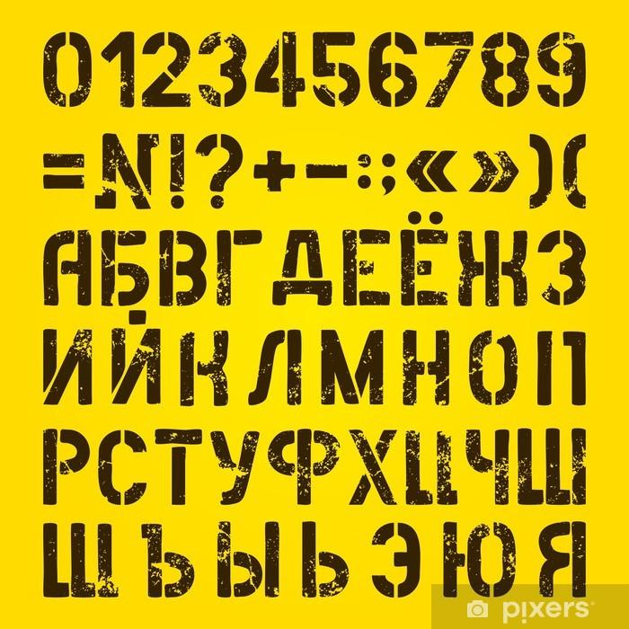 Sticker Pixerstick Lettres et chiffres peints pochoirs. Alphabet russe - Thèmes