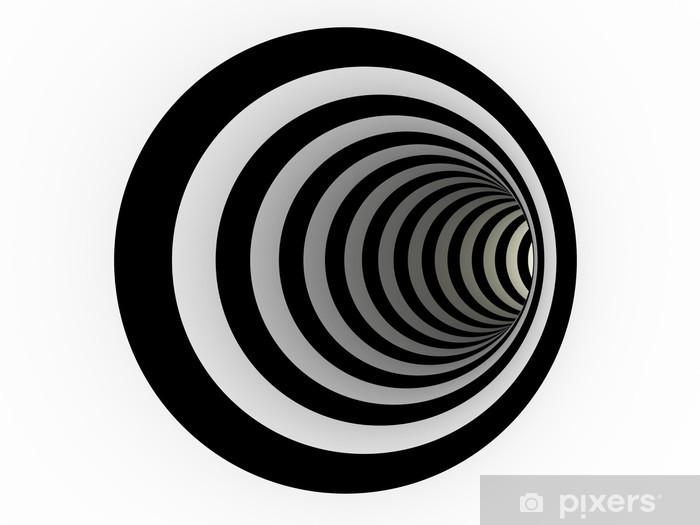 Fototapeta samoprzylepna Tunel z czarnych i białych linii - Abstrakcja