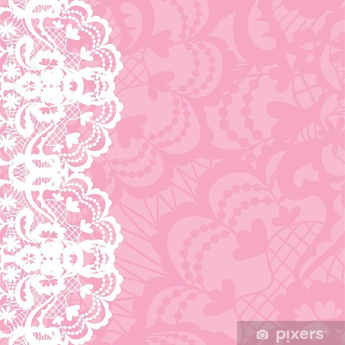 20493106deda2d Fototapeta winylowa Pionowe bezszwowe tło z kwiatowym ornamentem koronki
