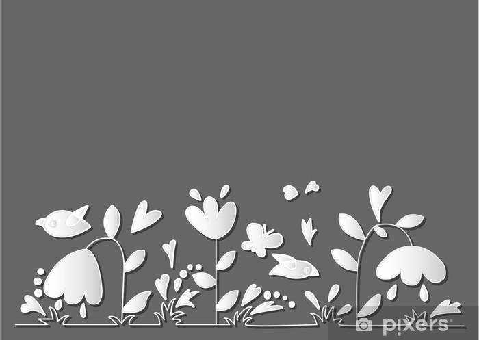 Naklejka Pixerstick Białe kwiaty na szarym tle - Tła