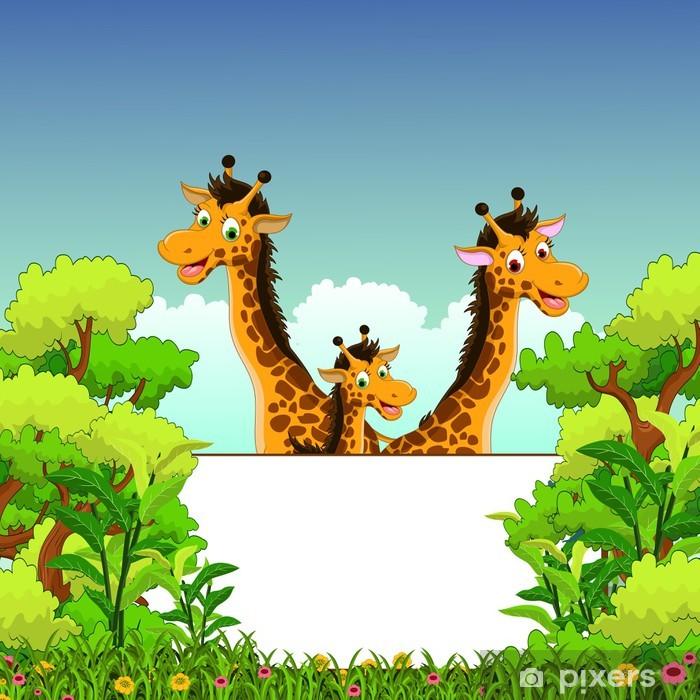 Poster Bande dessinée de girafe avec le signe blanc - Mammifères
