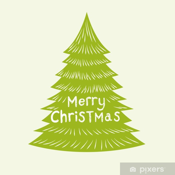 Christmas Tree Vector.Wall Mural Vinyl Merry Christmas Tree Vector