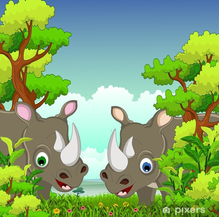 couple rhino cartoon with forest background Wall Mural - Vinyl