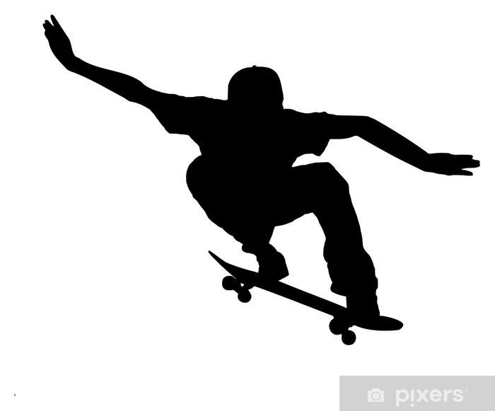 silhouette of a skateboarder on white background Pixerstick Sticker - Wall decals