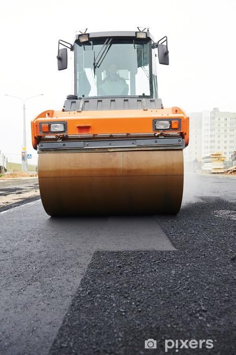 Naklejka Pixerstick Walec kompaktor na asfaltowanie pracę - Znaki i symbole