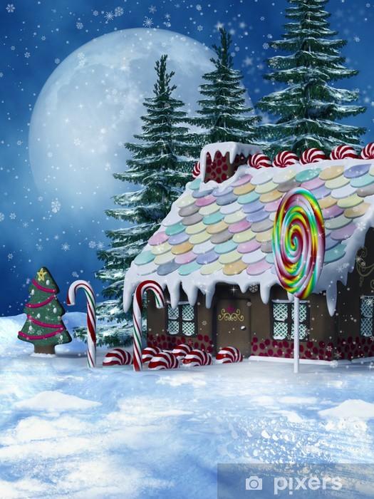 Fototapeta winylowa Zimowy krajobraz z cukierkowym domkiem - Pory roku