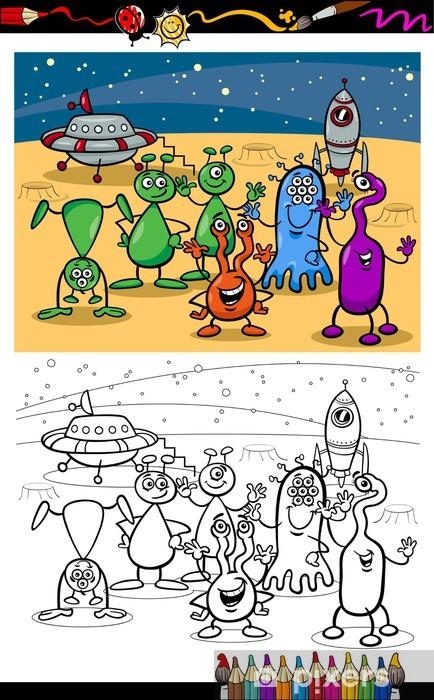 Fototapete Cartoon Ufo Aliens Gruppe Ausmalbilder Pixers Wir