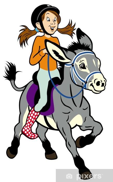 Sticker Pixerstick Fille de bande dessinée avec un âne - Mammifères