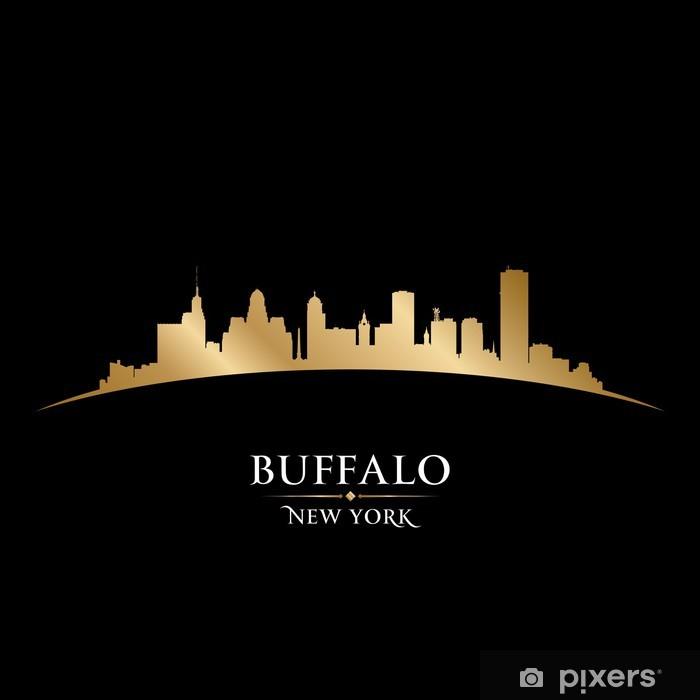 Sticker Pixerstick Buffalo ville de New York skyline silhouette fond noir - Amérique