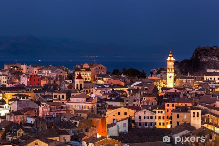 Vinylová fototapeta Panoramatický pohled na citylighty na město Korfu v noci. Kerkyra - Vinylová fototapeta