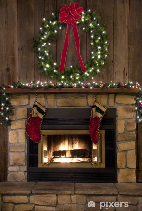 Fireplace Christmas.Wall Mural Vinyl Christmas Fireplace Hearth With Wreath And Stockings