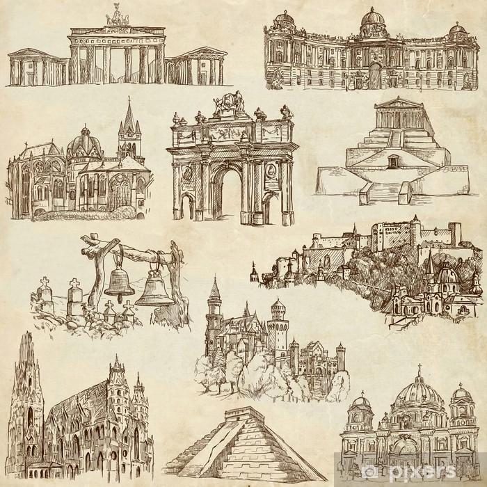 Vinyl-Fototapete Berühmte Orte und Architektur rund um die Welt - Papier-Set 4 - Sonstige