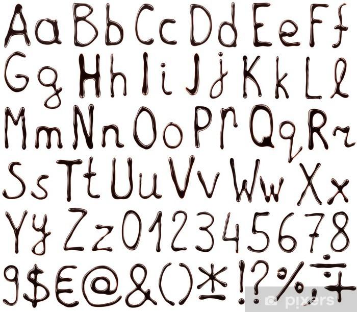 Fototapete Alphabet Buchstaben Zahlen Und Symbole Mit Schokolade