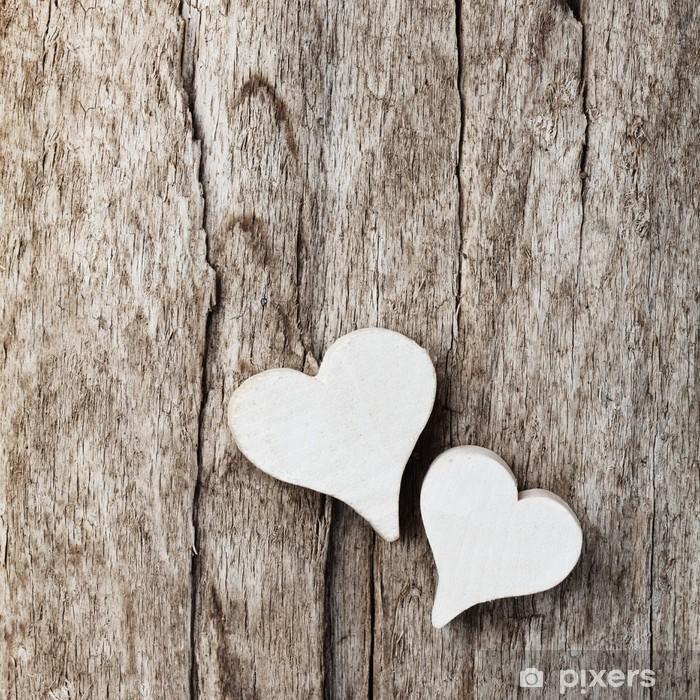Weiße Herzen vor Holzhintergrund Pixerstick Sticker - International Celebrations