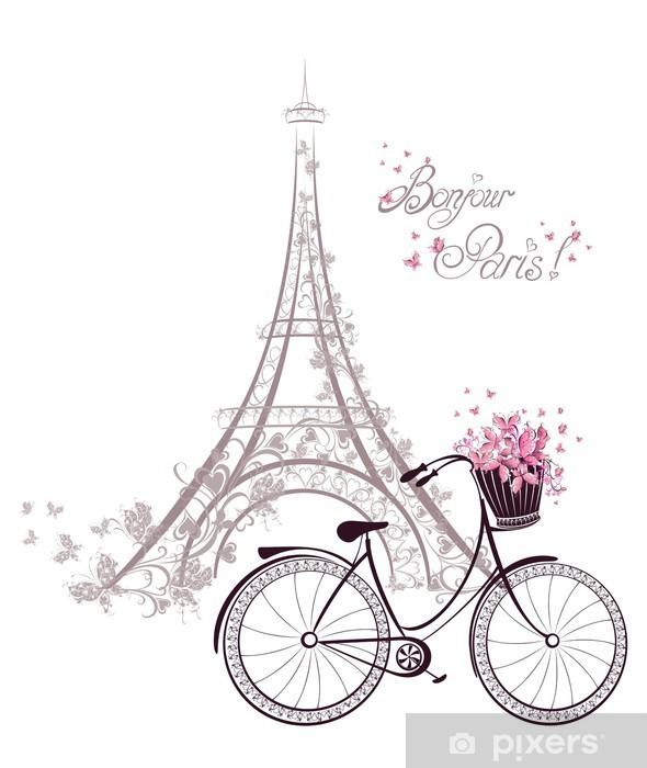 Vinyl Fotobehang Bonjour Parijs tekst met Eiffeltoren en fiets -