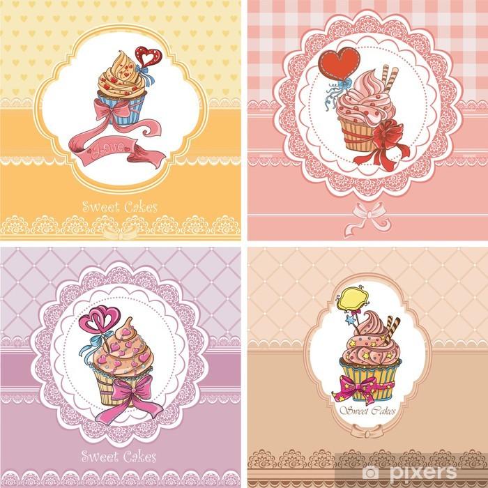 Set Vintage card with cupcakes Pixerstick Sticker - Celebrations