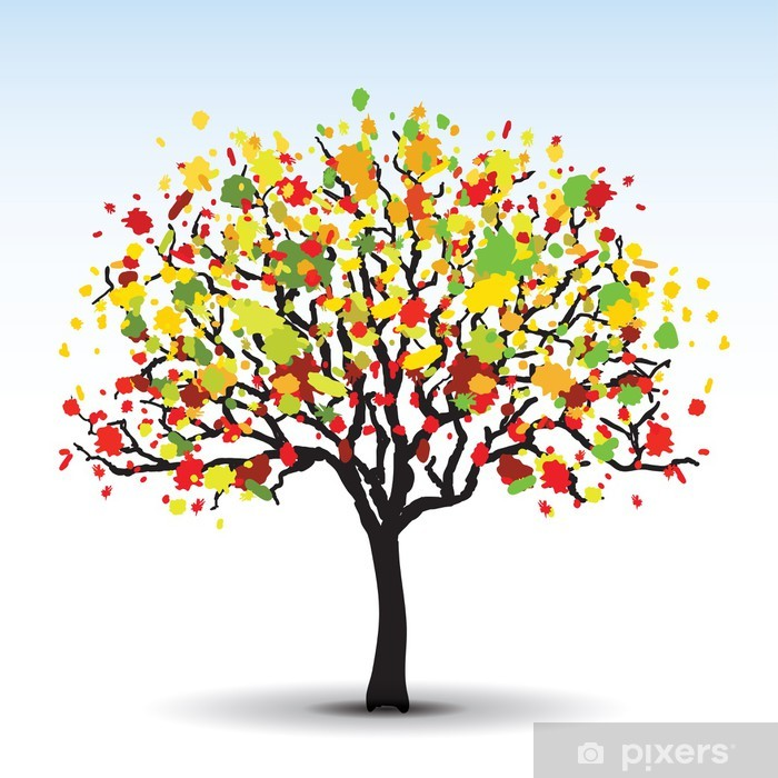 autumn abstract tree in vector Vinyl Wall Mural - Abstract