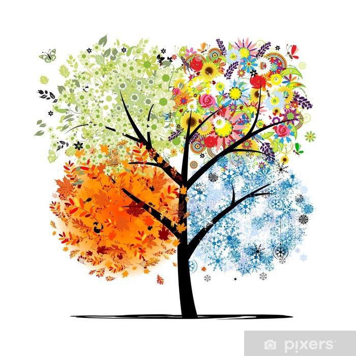 Four seasons - spring, summer, autumn, winter. Art tree Vinyl Wall Mural - Wall decals