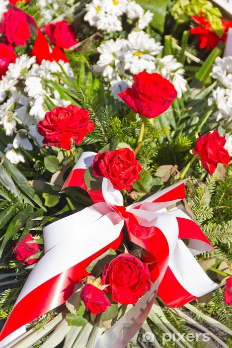 Vinilo Pixerstick Composicion De Flores Rojas Y Blancas Pixers