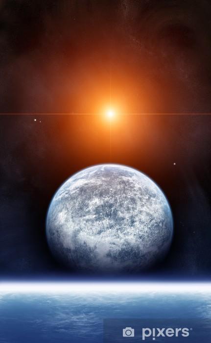 Vinyl-Fototapete Planet mit Rising Star - Weltall