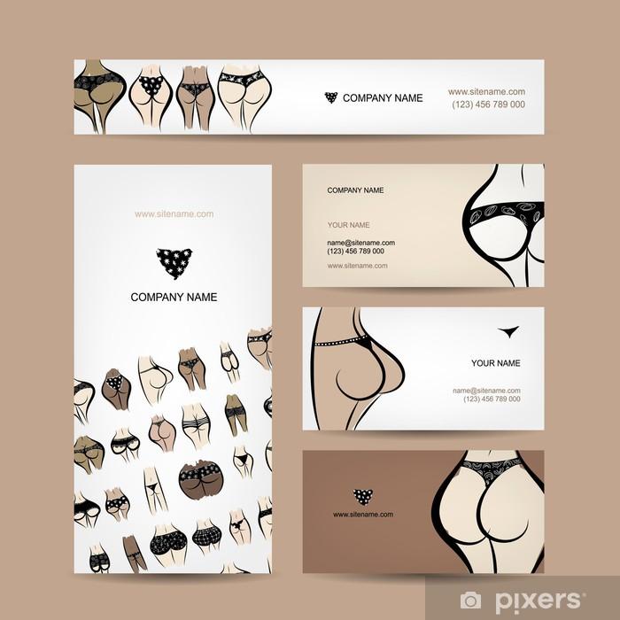 Sticker Les Cartes De Visite Conception Avec La Collection Bikini Pixerstick
