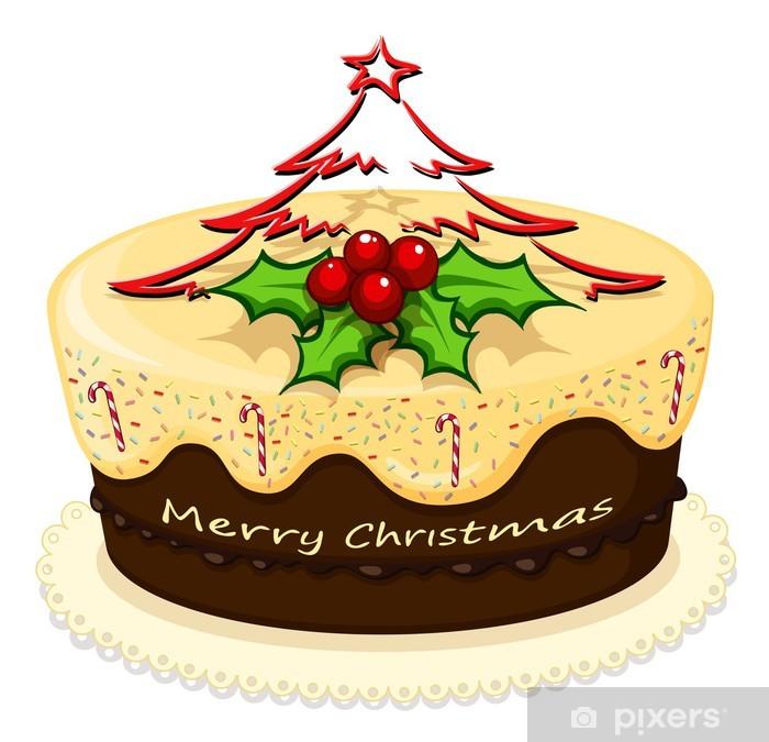 Sticker Pixerstick Un délicieux gâteau pour Noël - Desserts et friandises